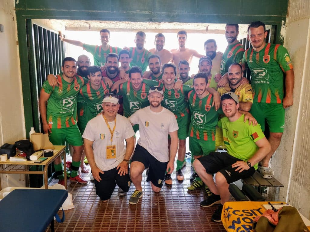 The amateur Portuguese football team with Josh French sports chiropractor