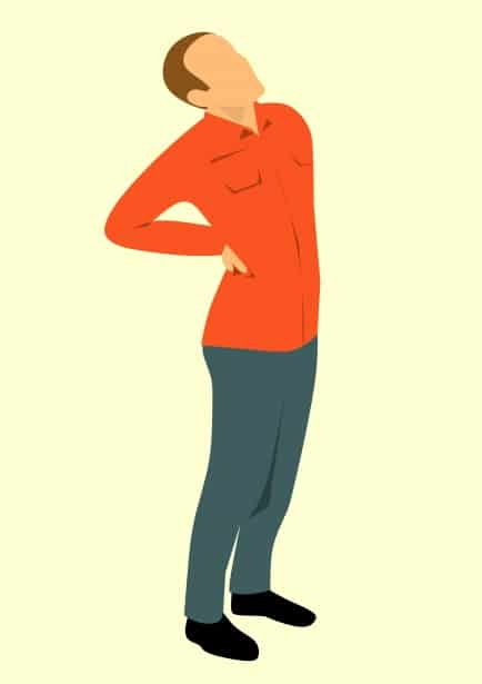 Cartoon of a man with low back and sciatica pain