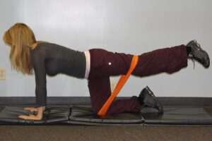 Patient performing a home exercise